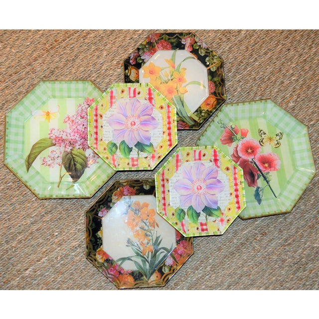 Glass Botanical & Butterfly Decoupage Plates - Set of 6 For Sale - Image 7 of 10