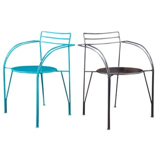 Pair of Powder-Coated Lune d'Argent Metal Armchairs For Sale
