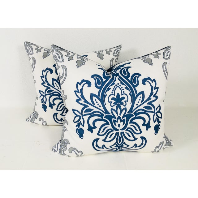 Medallion Motif Blue & White Pillows – a Pair For Sale - Image 9 of 9