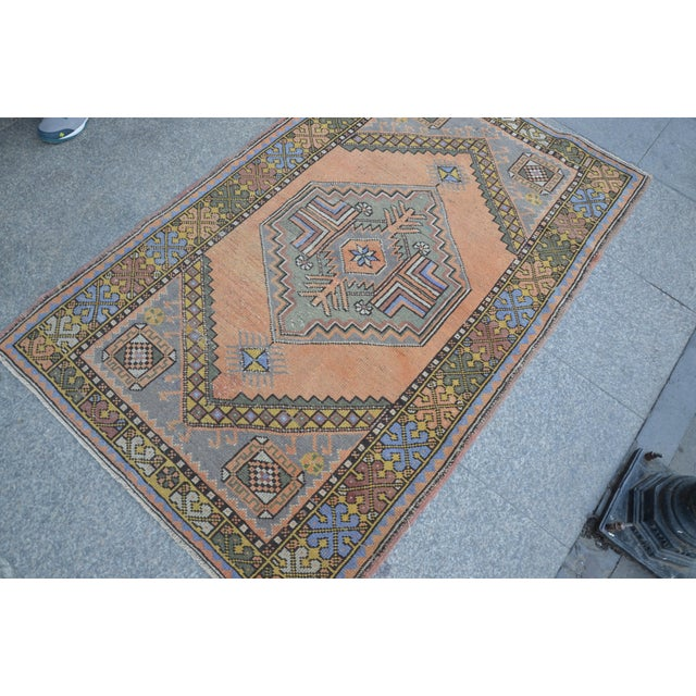 Apricot Turkish Oushak Antique Wool Rug - 3′6″ × 5′6″ For Sale - Image 8 of 11