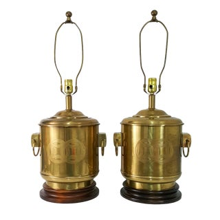 Vintage Frederick Cooper Asian Canister Lamps - a Pair
