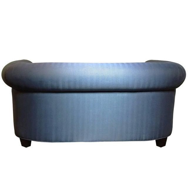 Mid-Century Modern Mid-Century Italian Library Sofa in Blue Herringbone For Sale - Image 3 of 4