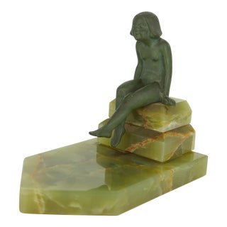 Vintage Seated Woman Over Pool Verdigris Sculpture For Sale