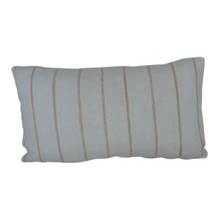 Vintage Soft Yellow Stripes Grain Sack Linen Lumbar Pillow For Sale