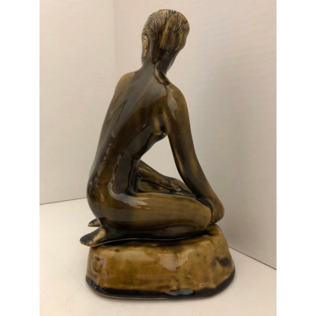1970s 1970's Female Nude Ceramic Sculpture on Base by Thai Celadon For Sale - Image 5 of 12