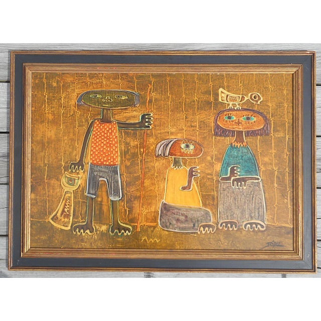 Blue Original Vintage Post Modern Oil on Canvas-Signed-Raul Conti-Listed Latino Artist For Sale - Image 8 of 8