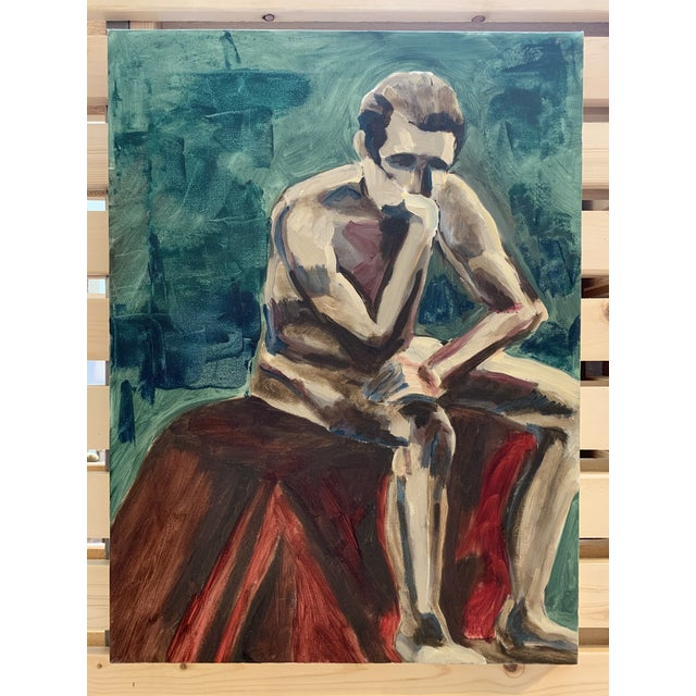 Mid 20th Century Vintage Seated Male Nude Oil Painting on Canvas For Sale - Image 5 of 5