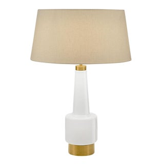 Milk Coloured Glass Lamp With Shade For Sale