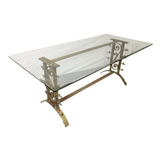 Vintage French Painted Iron Table With Glass Top