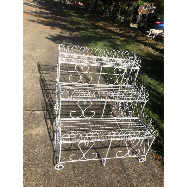 20th Century Cottage Ornate Metal Plant Stand For Sale - Image 9 of 9