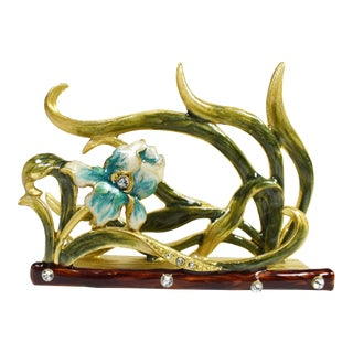 Vintage Enamel Rhinestones Flower Brass Desktop Business Card Holder For Sale