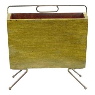Vintage Italian Gio Ponti Style Mid-Century Modern Brass & Wood Atomic Magazine Rack