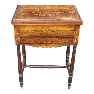 Antique English Regency Inlaid Rosewood 19th Century Sewing Work Table C1890 as Is For Sale