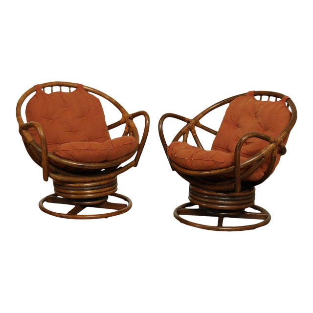 Mid Century Pair Rattan Swivel Rocking Lounge Chairs For Sale