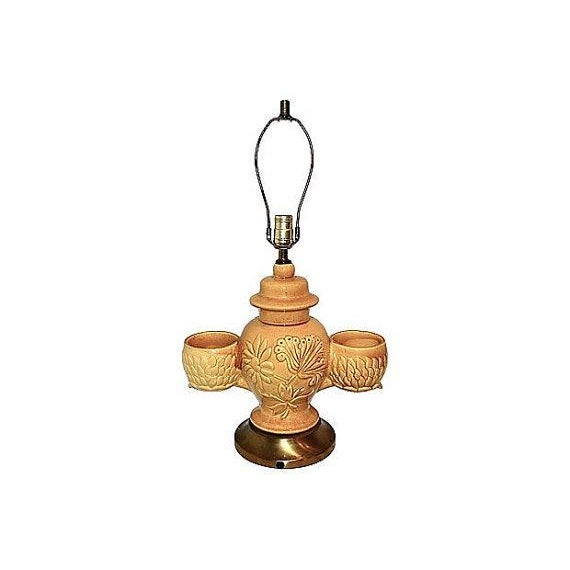 Large Pottery Lamp With Orchid Holders - Image 4 of 5