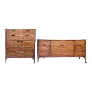 1970s Mid Century Modern Highboy & Lowboy Dressers - A Pair For Sale