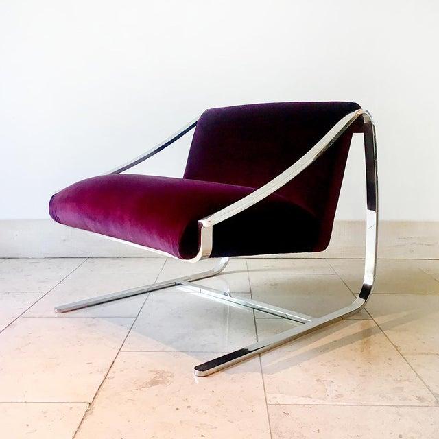Metal Single Original Plaza Velvet Upholstered Lounge Chair by Brueton 1970s For Sale - Image 7 of 7