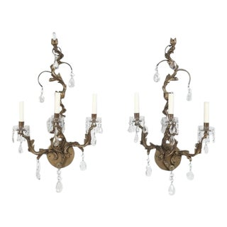 Pair of French Louis XV Style Sconces For Sale