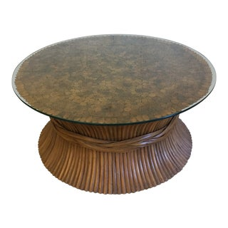 Round Sheaf of Wheat Bamboo Coffee Table by McGuire For Sale
