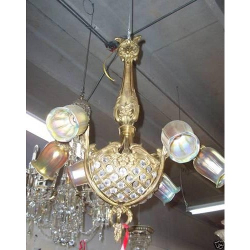 19th Century Gilt Bronze/ Crystal Basket/Heavy Louis XV Style Wheel Cut Crystal Chandelier - Image 2 of 6