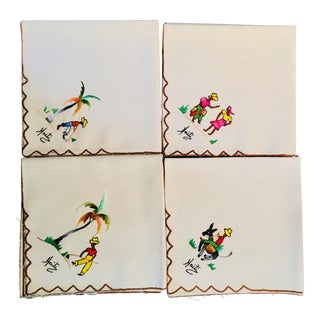 Haitian Embroidered Cocktail Napkins - Set of 4 For Sale