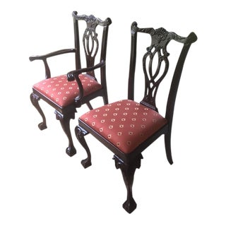 Councill Chippendale Ball and Claw Arm and Side Dining Chairs - A Pair For Sale