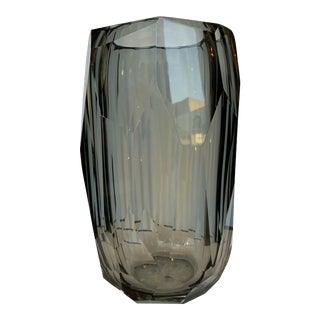 21st Century Gray Murano for Mogul Exclusive Diamond Faceted Crystal Vase Cylinder by Alberto Dona (L) For Sale