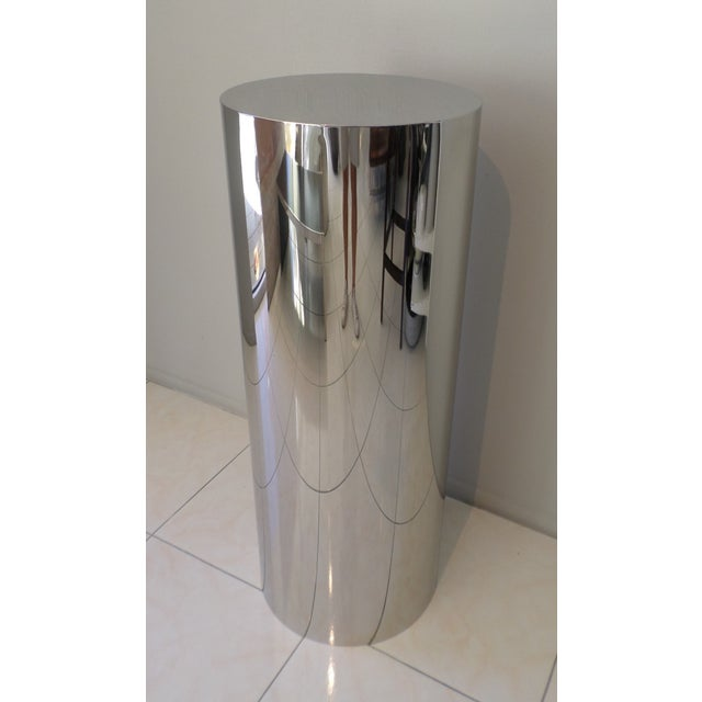 Brueton Brueton Polished Staineless Steel Cylinder Pedestal For Sale - Image 4 of 4