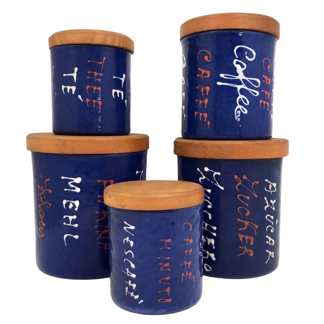 Valenti Mid-Century Italian Blue Enamel Kitchen Canisters - Set of 5