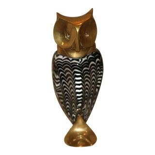 Luca Bojola Brass & Art Glass Owl