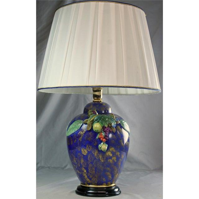 Italian Majolica Hand-Painted Blue Table Lamp - Image 2 of 8