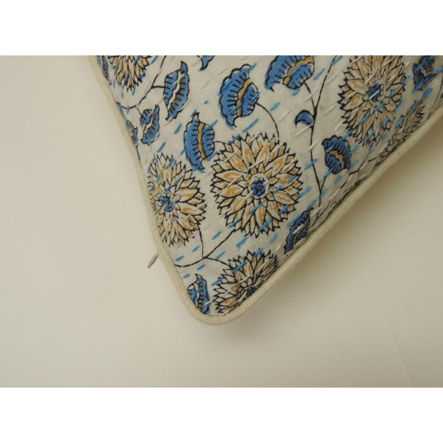 """Late 20th Century Indian Quilted """"Lotus"""" Decorative Pillows For Sale - Image 5 of 6"""