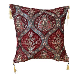 Vintage Turkic Kilim Patterned Pillow Cover - 17ʺW × 17ʺH For Sale