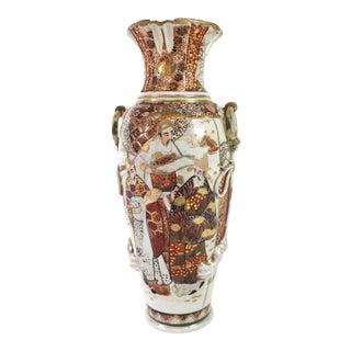 Early 1900s Satsuma Meiji Era Japanese Ceramic Vase For Sale
