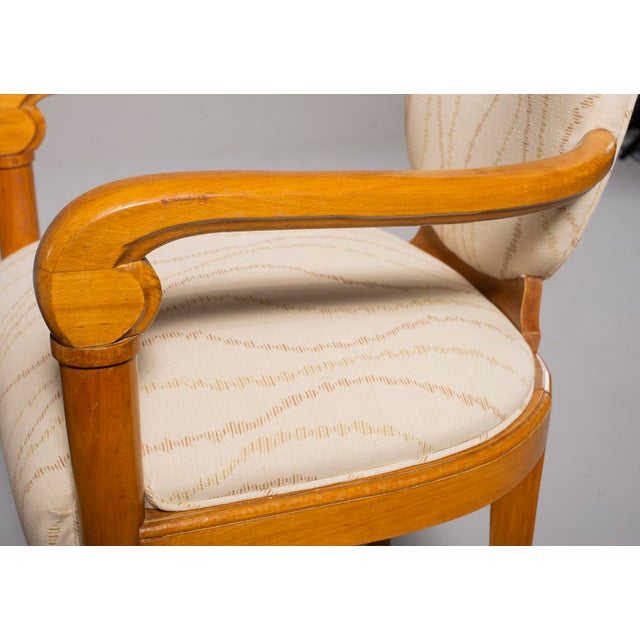 White Pair French Bridge Chairs With Beech Frames and New Upholstery For Sale - Image 8 of 10