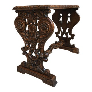 Antique French Carved Tiger Oak End Side Coffee Tea Table Louis XV Baroque For Sale