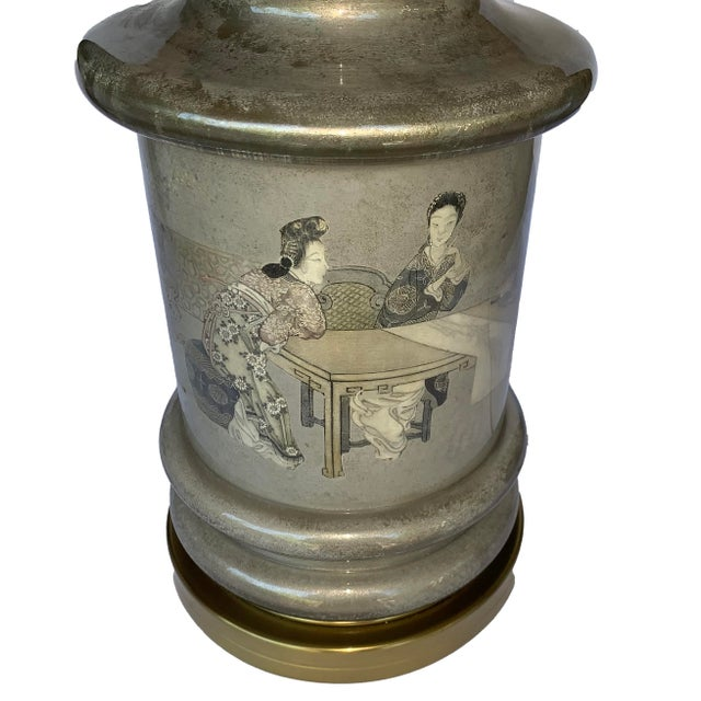 Chinese Chinese Motif Ceramic & Brass Table Lamp For Sale - Image 3 of 7