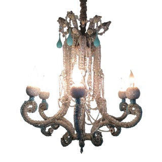 Crystal Six-Arm Chandelier For Sale