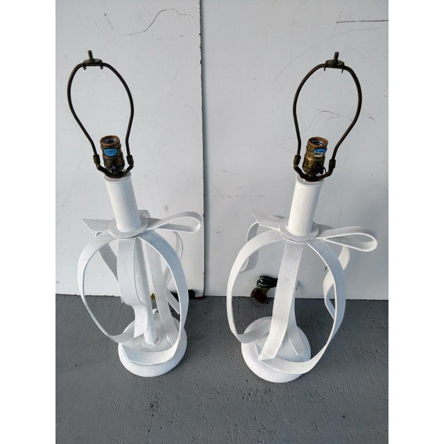 1970s 1970's Metal Ribbon Table Lamps - a Pair For Sale - Image 5 of 9