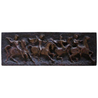 Finesse Originals Mid-Century Modern Roman Soldiers on Horses Relief Wall Art