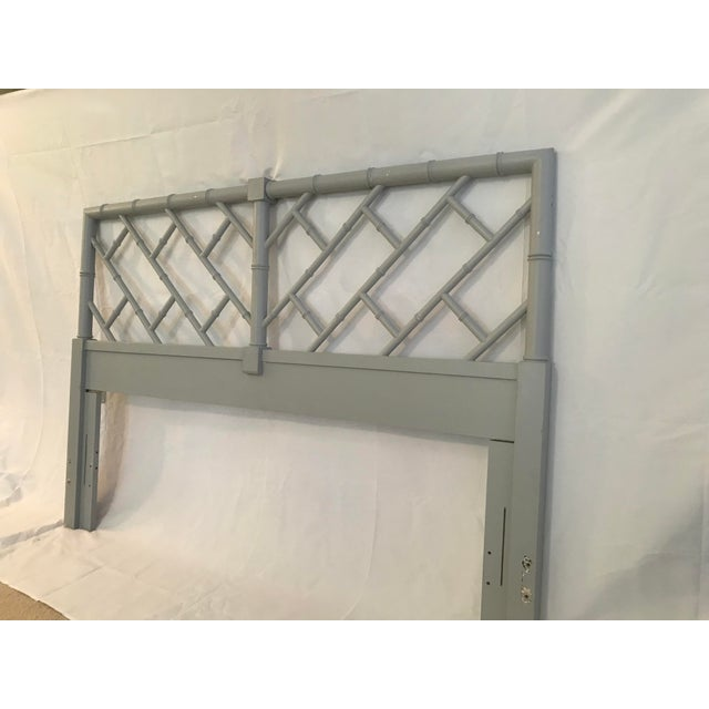 Gray Henry Link Bali Hai Chinese Chippendale Queen Fretwork Headboard For Sale - Image 8 of 9