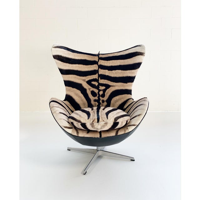 Arne Jacobsen for Fritz Hansen Egg Chair in Zebra Hide and Loro Piana Leather For Sale - Image 9 of 13