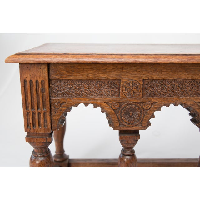 Mid 19th Century 19th-Century Antique French Carved Oak Bench For Sale - Image 5 of 10