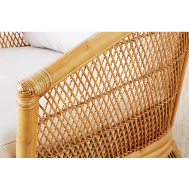 Midcentury Bamboo Rattan Wicker Lounge Chair For Sale - Image 9 of 13