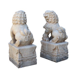 Chinese Off White Marble Stone Fengshui Foo Dogs Statues - A Pair Preview