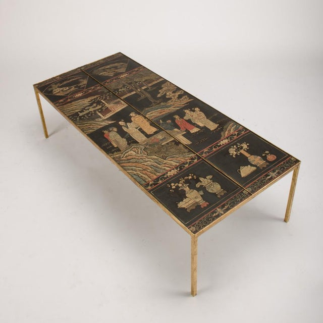 Vintage Chinoiseries Top Coffee Table With Leather Trim For Sale - Image 10 of 11