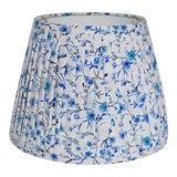 Image of Pleated Blue Floral Pleated Lampshade For Sale
