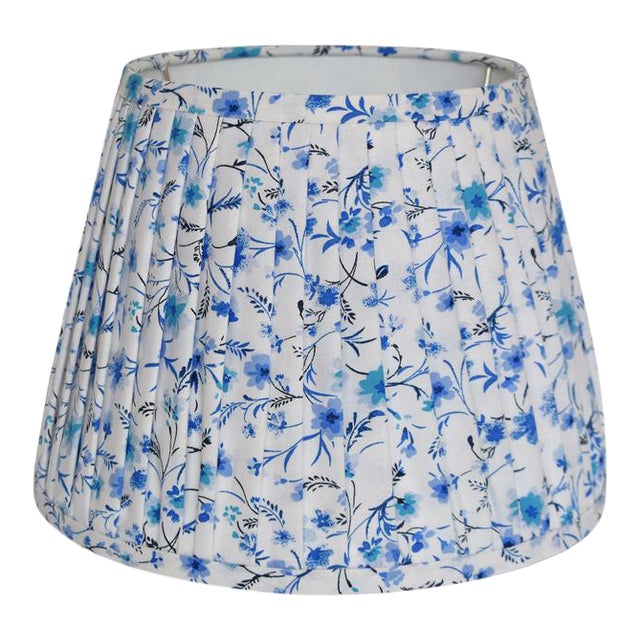 Pleated Blue Floral Pleated Lampshade For Sale