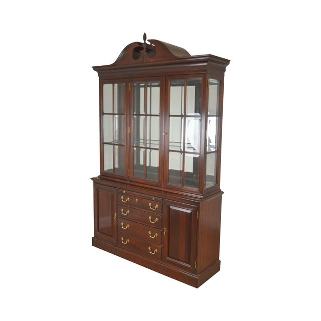Lexington Chippendale Style Heirloom Solid Mahogany China Cabinet Top Buffet For Sale - Image 13 of 13