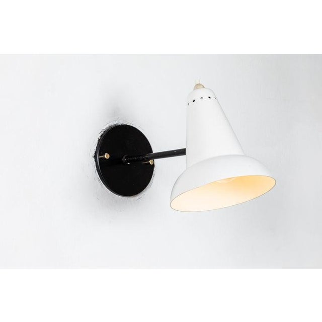 Black 1950s Italian White Articulating Sconces Attributed to Gino Sarfatti For Sale - Image 8 of 13
